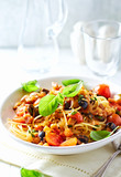 Pasta with Pancetta and Vegetable Sauce - 184216415