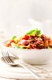 Pappardelle Pasta with Pancetta and Vegetable Sauce - 184218845
