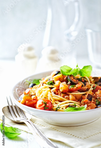 Pasta with Pancetta and Vegetable Sauce
