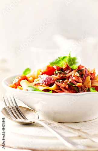 Pappardelle Pasta with Pancetta and Vegetable Sauce