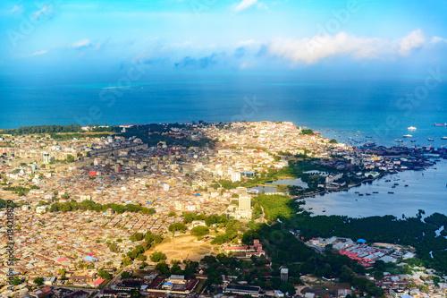 Tuinposter Zanzibar An aerial photograph of Stone Town in Zanzibar, Tanzania.