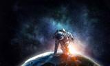 Astronaut starting to run. Mixed media - 184219221