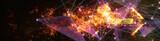 炎の矢印と紫色のワイヤーフレーム