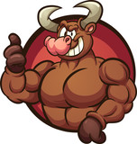 Strong cartoon bull with thumbs up coming out of a circle shaped hole. Vector clip art illustration with simple gradients. All in a single layer.