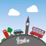 london big ben double decker bus taxi telephone booth tree sky vector illustration - 184226025