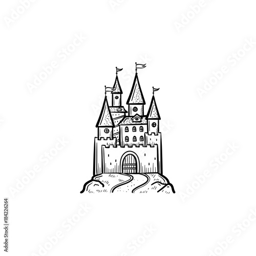 Vector Hand Drawn Fairytale Castle Outline Doodle Icon Fairytale