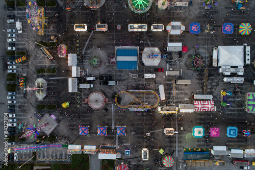 Overhead drone image of a carnival Poster