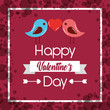 happy valentines day couple birds heart poster vector illustration - 184227830