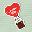 heart balloon flyin valentines day card vector illustration - 184227853