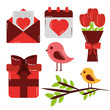 valentines day set icons cute love design vector illustration