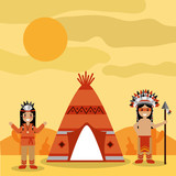 two native american people with teepee and desert landscape vector illustration - 184228052