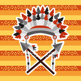 headwear feathers with cross spears warrion native american vector illustration - 184228080