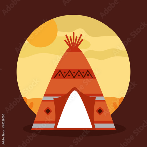 Tuinposter Bruin landscape desert with teepee home native american tribal vector illustration