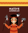 native american indian holding spear and tomhawk vector illustration