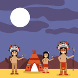 native american indians with teepee and night landscape vector illustration - 184228258