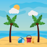 beach palm tree ball bucket and shovel sand sunny landscape vector illustration