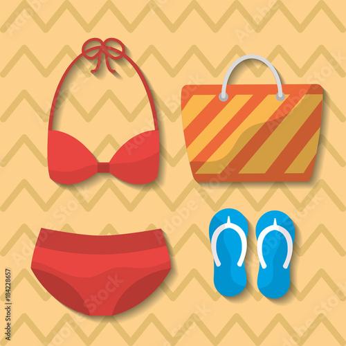 summer swimsuit bikini bag flip flops bag vector illustration