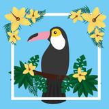 toucan sitting on tree branch flower tropical bird vector illustration - 184228896