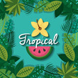 tropical fruit and flower with leaves foliage natural vector illustration
