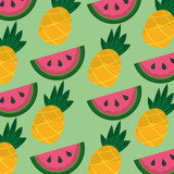 tropical fruits watermelon and pineapple seamless pattern vector illustration - 184229028