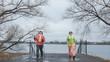 Quadro Nordic walking for senior women outdoor - two senior ladies have training outdoor