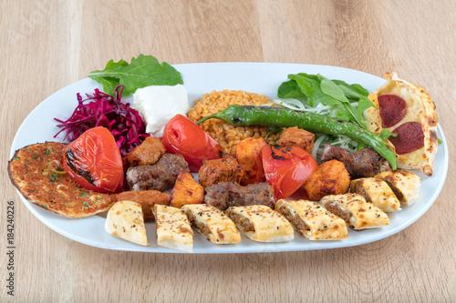 sish kebab, Turkish kebab on plate - 184240226
