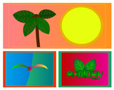 Image of several objects. Among them there is a palm tree, a sun, a bird, a word and leaves. - 184242832