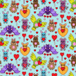 Animal Toys with Heart Seamless Pattern - 184244884