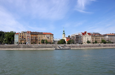 old buildings on Danube riverside Budapest cityscape Hungary