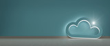 Cloud illuminated symbol hold against a wall - 184247020