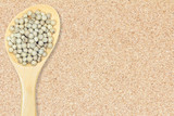 Peppercorn. White pepper in wooden spoon on cork board background for design with copy space for text or image.