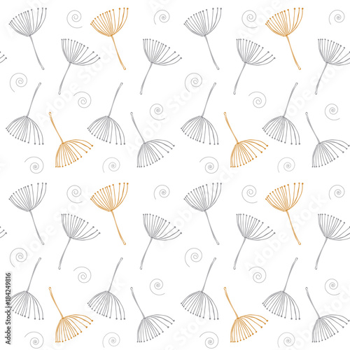 Floral vector seamless pattern with stylized dandelion fluffs.