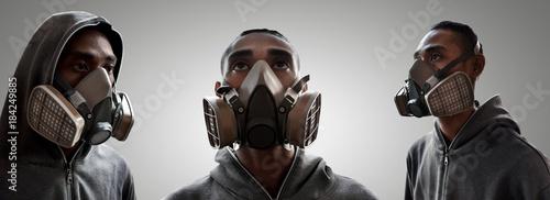 Aluminium Graffiti Set of graffiti artist wearing a gas mask