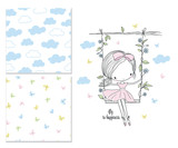 Little girl on the swing. Nursery vector illustration