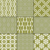 Olive green floral ornaments. Collection of seamless patterns - 184252656