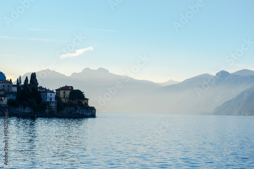 Foto op Canvas Pool Como lake coast in early morning, Lombardy, Italy.
