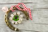 Ein Hufeisen mit einem Kleeblatt in der Mitte, den Worten Viel Glück, einem Glücksschwein und einem rot weiß kariertem Band auf Holzhintergrund, Textfreiraum - 184253093