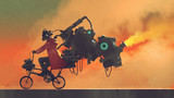 robot man on a bike designed with futuristic machines, digital art style, illustration painting - 184255400