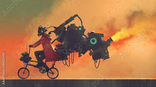 robot man on a bike designed with futuristic machines, digital art style, illustration painting