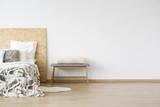 Fluffy blanket lying on bed - 184256676