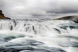 Water run down waterfall in Iceland