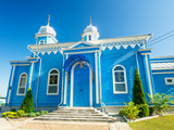 Blue Wooden Orthodox Church In Summer - 184258692