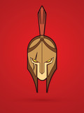Roman or Greek Helmet , Spartan Helmet, Angry Warrior face graphic vector - 184258840