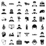 Recruitment icons set, simple style - 184263458