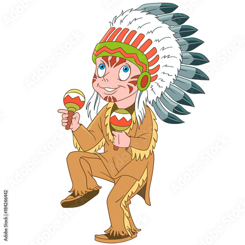 In de dag Indiërs Cartoon native american indian chief with maracas. Design for children's coloring book.