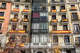 Plaza de Oriente in Madrid with Spanish flags hanging on its facades - 184268810