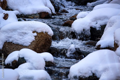 Tuinposter Herfst Landscape with mountain river in winter