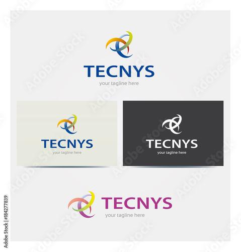 Logo Technology Multicolor Icone Business Card i karta Corporate Graphic Kilka kolorów