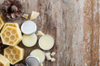 homemade natural lip balm on wooden table background.