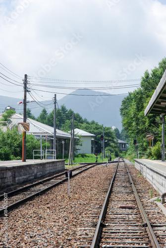 Foto op Plexiglas Spoorlijn 高原の駅